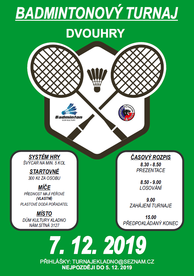 Badmintonový turnaj dvouhry 7.12.2019